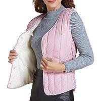 Women Winter Warm Thicken V Neck Lightweight Gilet Quilted Zip Vest