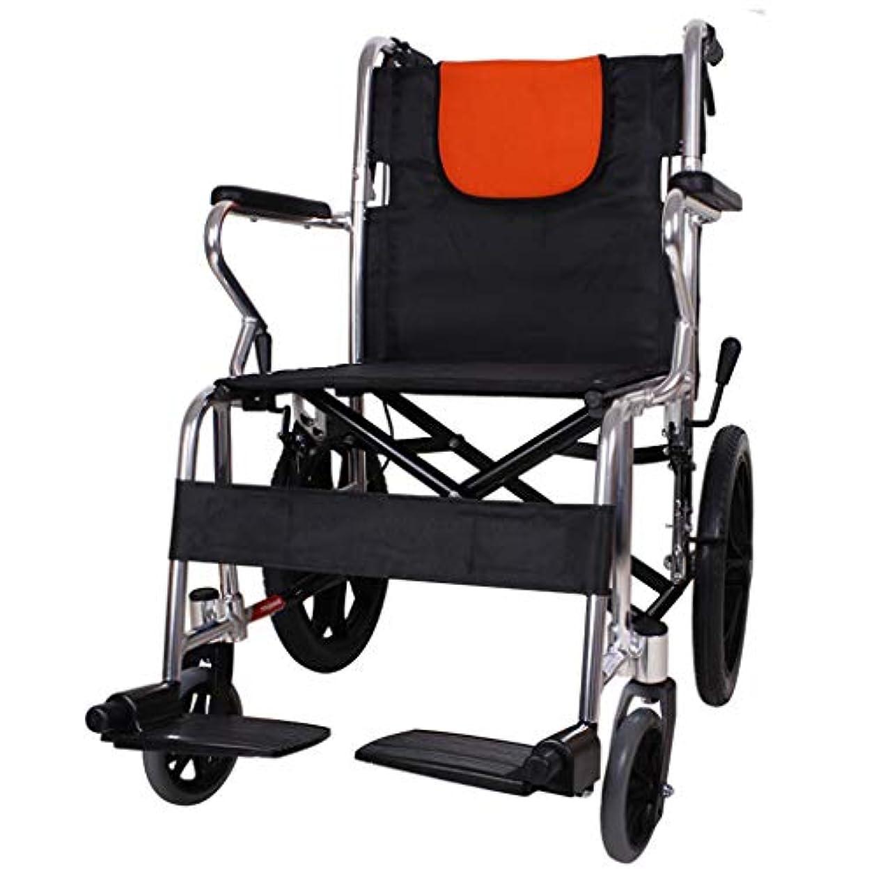 大使館荒らす受取人ハンドプッシュ車椅子、折りたたみ式、手動プッシュ式歩行装置、成人および障害者用アルミニウム旅行スクーターに適しています