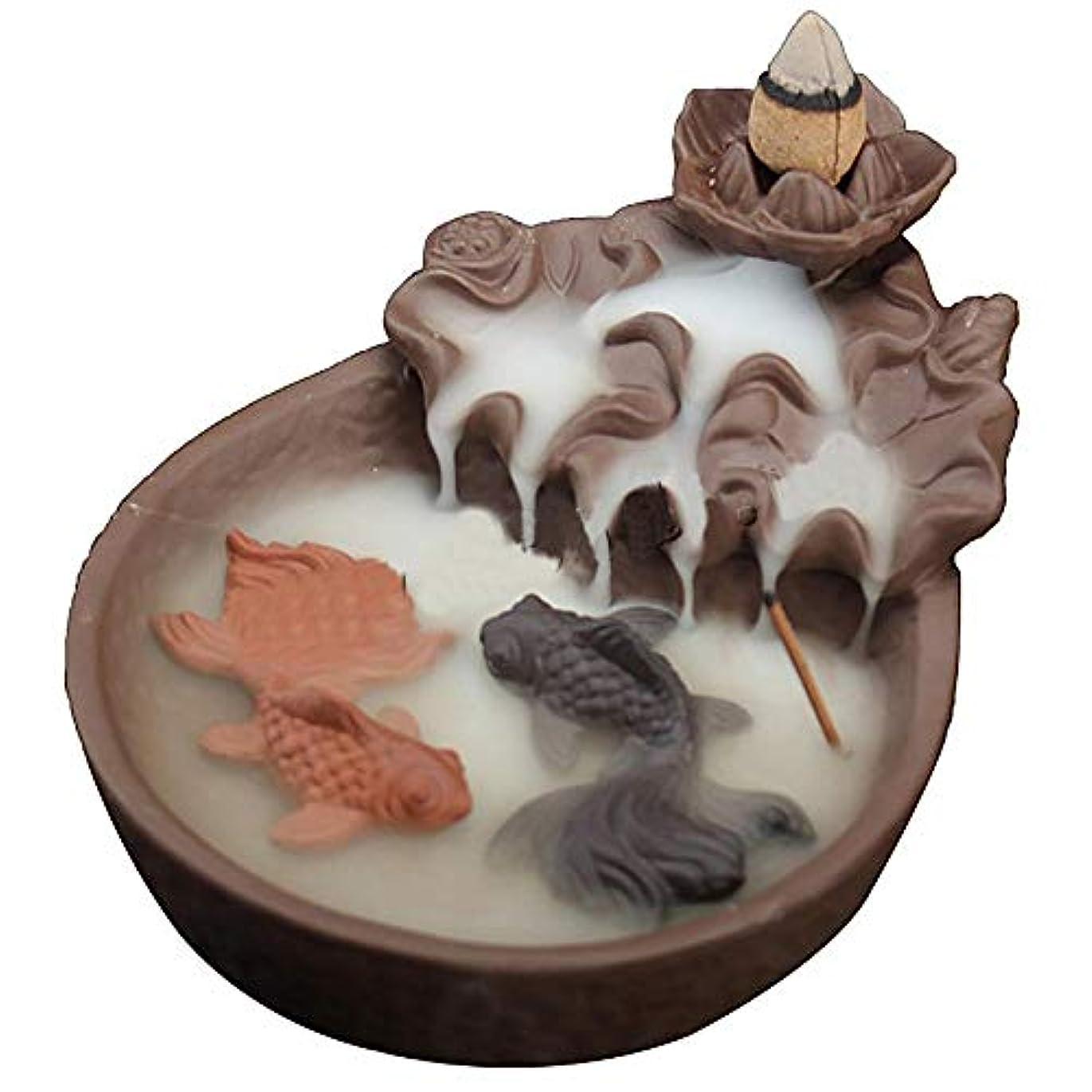 恐竜島歴史LEAFIS セラミック製 魚の逆流香炉 お香 コーン型お香 スティックホルダー ヨガルーム ホームデコレーション 手芸ギフトに最適 コーン10個付き