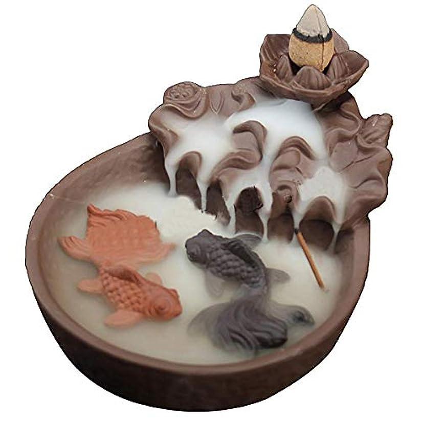 恩赦ヨーグルト虎LEAFIS セラミック製 魚の逆流香炉 お香 コーン型お香 スティックホルダー ヨガルーム ホームデコレーション 手芸ギフトに最適 コーン10個付き