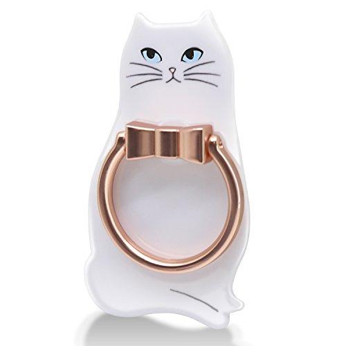エレコム ホールドリング スマホリング スタンド機能付き ネコデザイン 白ネコ P-STRJCTWH