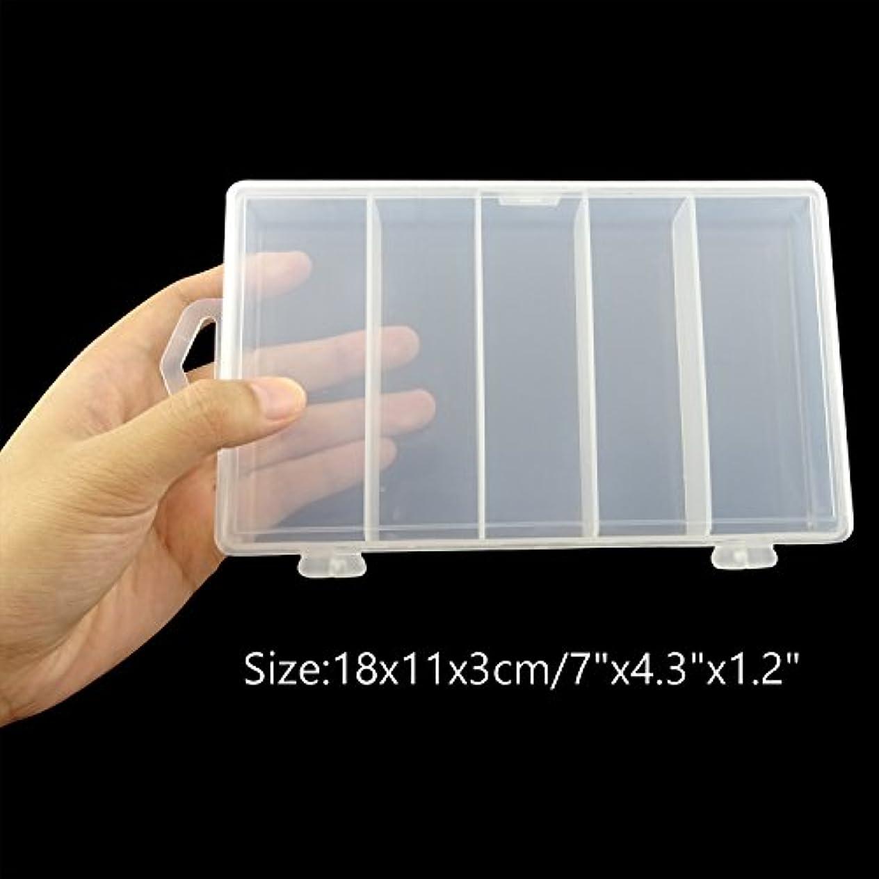 読者トリム豊かにするHonbay 5-gridクリア可視プラスチック釣りタックルアクセサリーボックス釣りルアー餌フックストレージボックスケースコンテナジュエリーMaking Findingsオーガナイザーボックスストレージコンテナケース – 18 x 11 x 3 cm