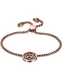 937a7730384d98 JewelryWe ブレスレット レディース かわいい パングル ステンレス シンプル お花 おしゃれ チェーン アンクレット ...
