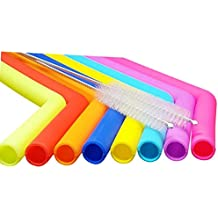 Reusable Straws Silicone Drinking Straws Smoothies 8 pcs + 2 Longer Brushes - Better Mouth Feel Than Stainless Steel and Angled for Your Comfort. More for Your Money.