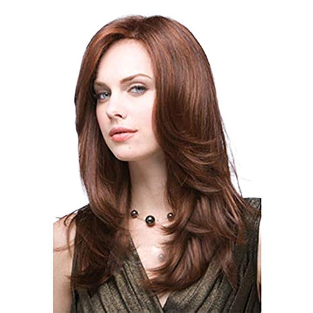 ウィッグ つけ毛 16インチロングヘアかつらカーリーウェーブ斜め前髪コスプレ衣装デイリーパーティー用かつら女性用人工毛 (色 : ブラウン, サイズ : 16