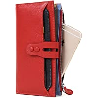 Women Genuine Leather Wallet Red Card Holder Purse Ladies Clutch for Credit Cards Checkbook Phone Cash Cion