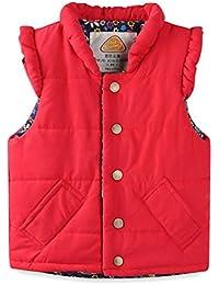 LittleSpring秋冬 ガールズ 女の子 中綿 ベスト ピンク 赤 花柄 ジャケット ノースリーブ ジレー フリル