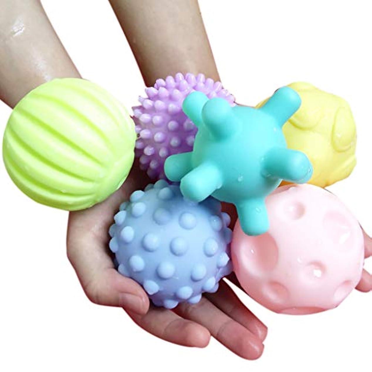 確保する軍隊バウンス6本入浴おもちゃボール、赤ちゃん入浴おもちゃ、触覚ゲーム、様々な形、海洋生物 (6PCS)