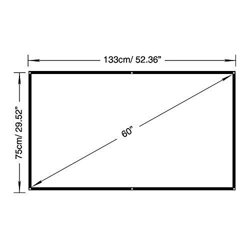 EUG60インチスクリーン16:9コンパクト 壁固定ロールプロジェクタースクリーン 教育・会議・家庭・屋外用