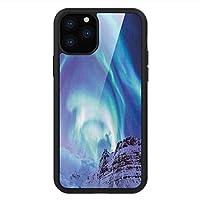 iPhone 11 Pro Max 用 強化ガラスケース クリア 薄型 耐衝撃 黒 カバーケース 冬 オーロラボレアリス・キルクジュフェル・アイスランド自然現象北上環境 ブルーシーグリーンライラック iPhone 11 Pro 2019用 iPhone11ケース用