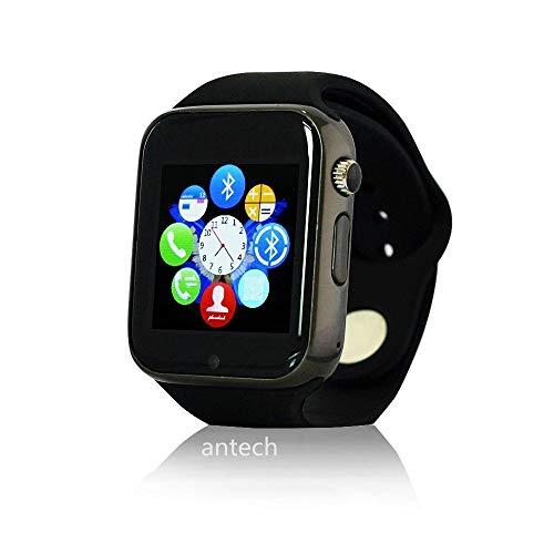 【最新版】Jpantech A1 スマートウォッチ Bluetooth搭載 多機能腕時計 スマートデジタル腕時計 Bluetooth smart A1 watch スマート ウォッチ 1.44インチ 多機能腕時計Watch 健康 タッチパネル 着信お知らせ/置き忘れ防止/歩数計/ストップウォッチ/高度計/アラーム時計 Antech smart watch(ブラック)
