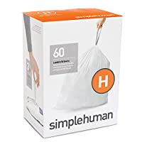 simplehuman code H custom fit liners 3 refill packs, (60 liners),Code H - 30-35L / 8-9 Gallon, White by simplehuman [並行輸入品]