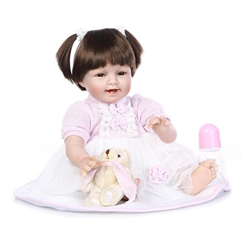 Nicery 人形 リボーンベビードールソフトシミュレーションシリコーンビニール22インチの55センチメートル磁気口リアルなかわいい子供のおもちゃは、アクリル目でピンクのドレスハイウィッグスマイル Reborn Baby Doll Christmas Gift