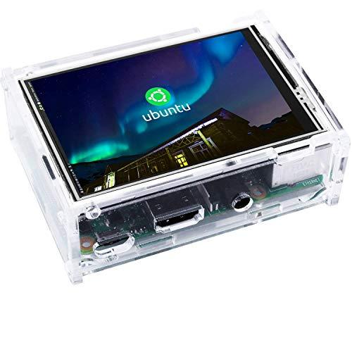 Kuman 3.5インチ Raspberry Pi用ディスプレイ タッチパネル 保護ケースセット 320*480解像度 デュアルディスプレイ同時表示 ゲームとビデオ可能 Raspberry Pi 4B B+ 2B 3B 3B+に対応 新タイプ ラズベリーパイ3 SC107