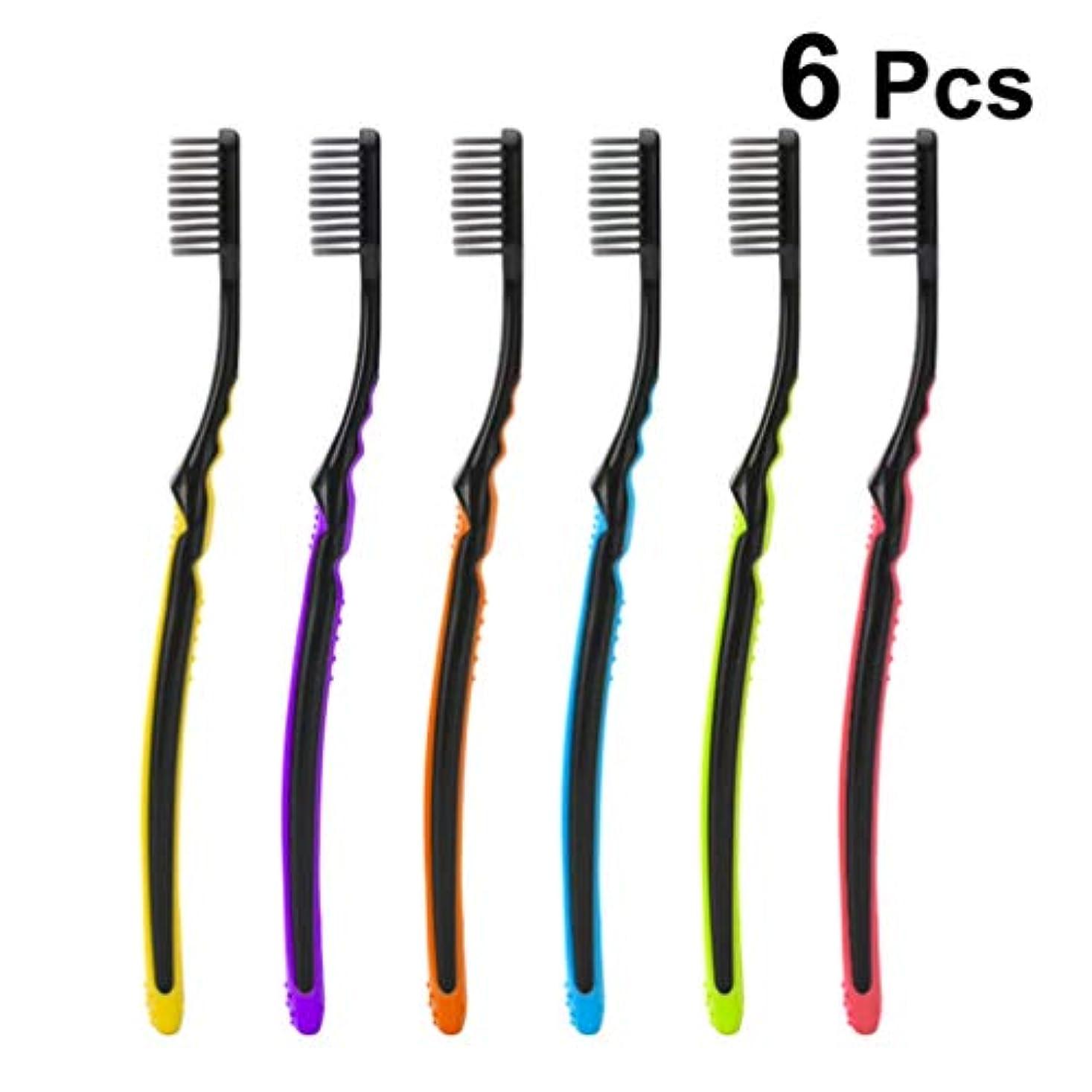 デジタル金額時間SUPVOX 6ピース手動歯ブラシソフト歯ブラシ大人の竹炭歯ブラシ家庭用旅行ホテル