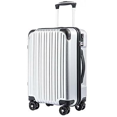[クールライフ] COOLIFE スーツケース キャリーバッグダブルキャスター 二年安心保証 機内持込 ファスナー式 人気色 超軽量 TSAローク (M サイズ(24in), シルバー)