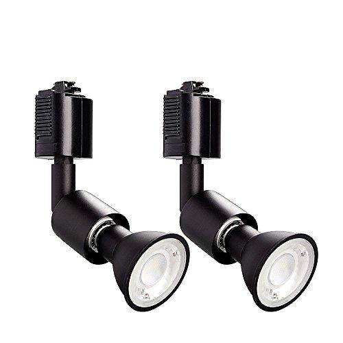 RoomClip商品情報 - ライティングバー用スポットライト LED電球付き E11 配線ダクトレール用器具セット 天井照明 2個セット (昼光色 ブラック)