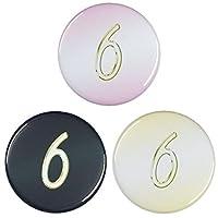 数字缶バッジ-Excellent- 【6】 大きいサイズ(57mm) ゴールド クリップ(ピンなし)タイプ