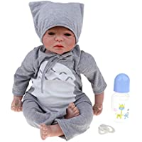 Baoblaze リアル 22インチ ビニール製 新生児人形 リボーンドール おしゃぶり 哺乳瓶 服セット