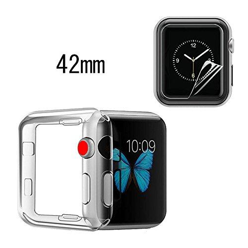 [해외]AVIDET Apple Watch Series 3 42mm 케이스 충격 흡수 범퍼 안티 스크래치 소프트 클리어 TPU 케이스 1 매 애플 워치 시리즈 3 42mm 전면 보호 필름 포함/AVIDET Apple Watch Series 3 42 mm Case Impact Absorbing Bumper Anti Scratch Soft Clear T...