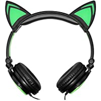 Tiptiper猫耳ヘッドフォンCute Glowing点滅cat-ear HDステレオノイズキャンセルヘッドセットover the ear with Glowing グリーン TP-98447_2