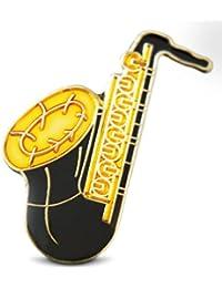 3ピース真鍮Saxophone Musicianラペルまたは帽子ピンタイタックセットwithクラッチバックby Novel Merk