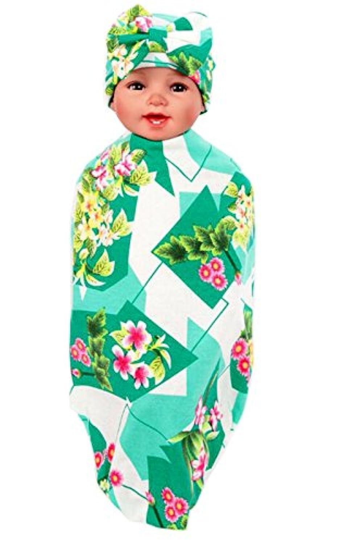 ufraky新生児Receivingおくるみブランケットバスタオル写真プロップ帽子Sleepingバッグセット