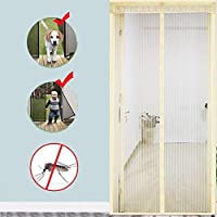 マグネットスクリーンドア、ヘビーデューティメッシュカーテンフルフレーム防蚊ネット蚊取り線香Cで新鮮な空気をさせましょう120 x 200 cm(47 x 79インチ)
