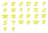 ステッカー アルファベット 英語 英字 5cm 黄 防水 屋外対応 シール カーグッズ 車 車用