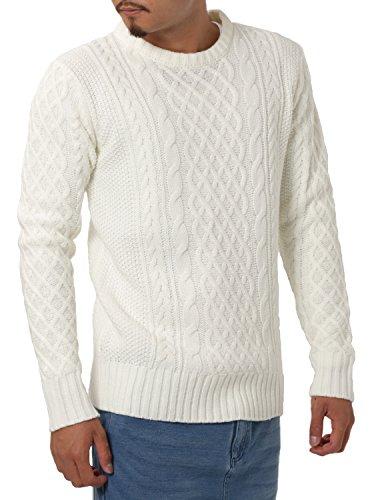 JIGGYS SHOP (ジギーズショップ) ニット セーター メンズ クルーネック ケーブル編み 厚手 長袖 防寒 ボーダー アメカジ XL A ホワイト