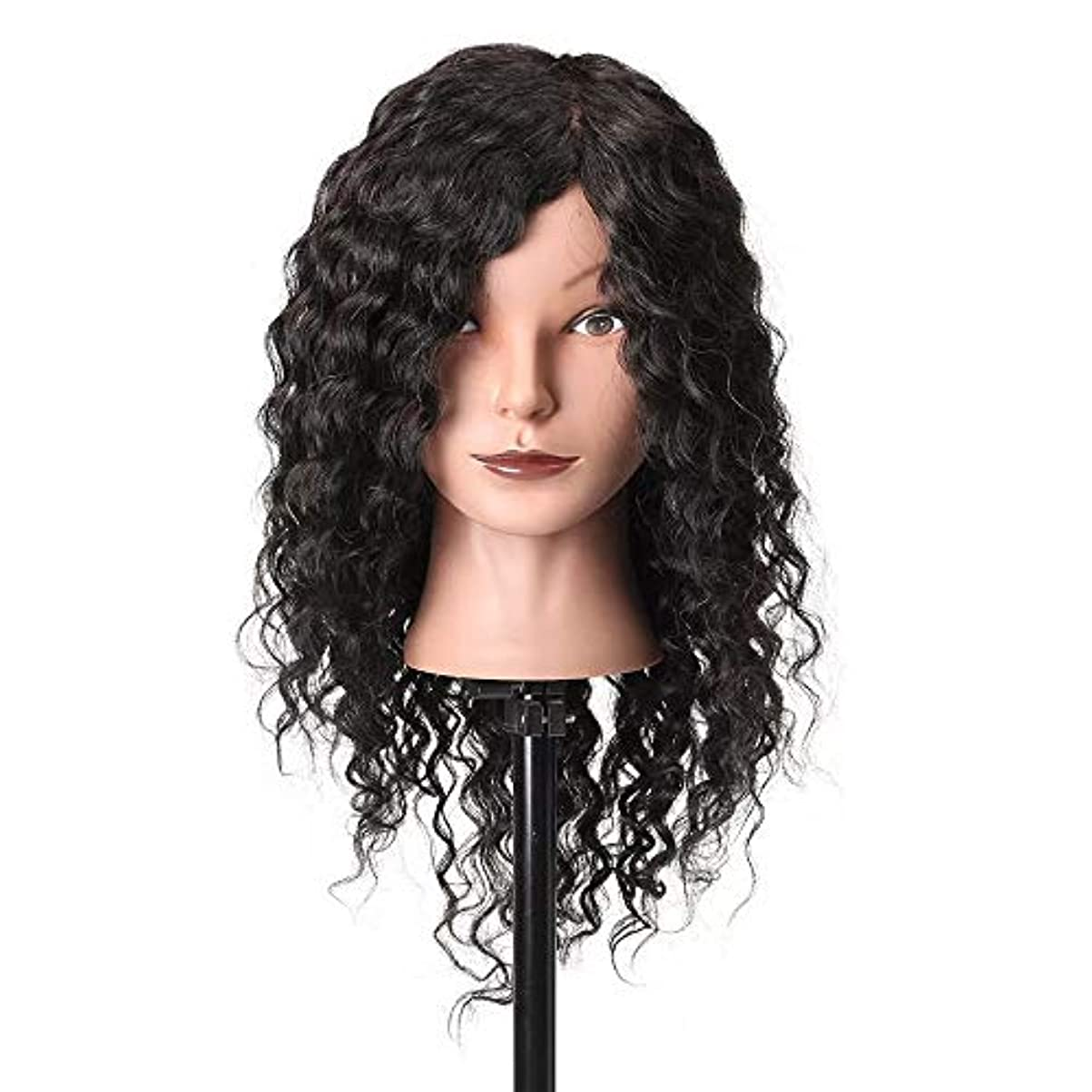 素晴らしい良い多くの上流の議題ウイッグ マネキンヘッド 18「」100%本物の人間の髪の毛サロン理髪トレーニング練習マネキンヘッド 練習用 (色 : ブラック, サイズ : 18 inch(48cm))