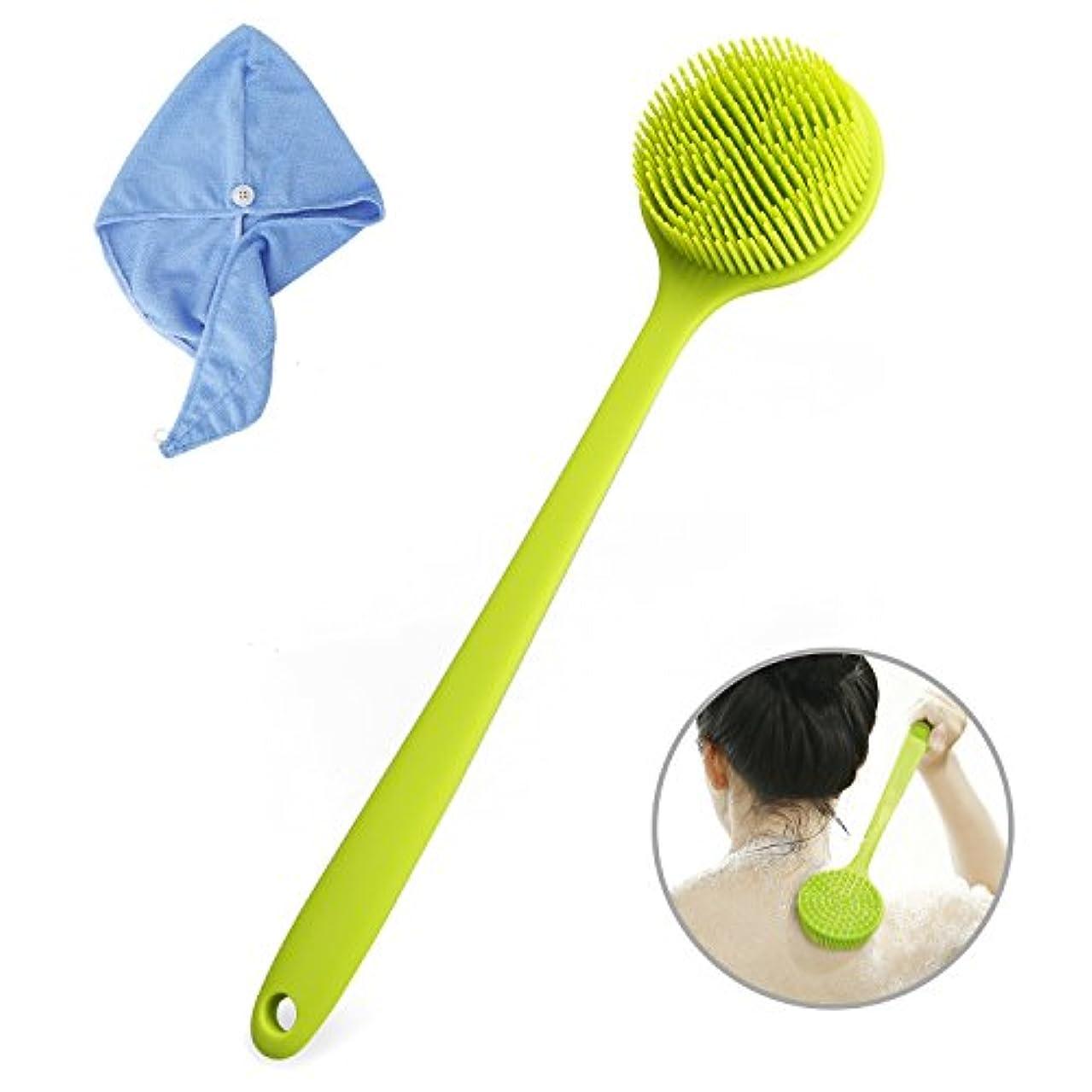 重要性添加ハチYOUKUKE ボディブラシ シャワーブラシ 無印 全身 ブラシ 背中 長柄 柔らかい ヘアキャップ付き 抜け毛ない 臭いしない