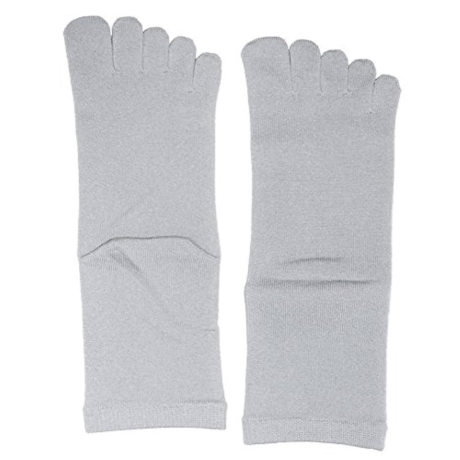 長椅子ビーム調査【3足セット】 シルク五本指ソックス レギュラー丈 25-27cm 日本製 (シルバーグレー)絹 靴下