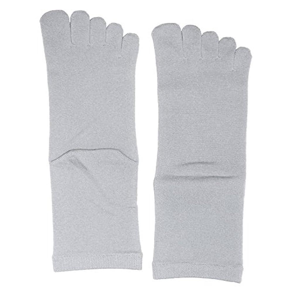 海岸リビジョン独立した【3足セット】 シルク五本指ソックス レギュラー丈 25-27cm 日本製 (シルバーグレー)絹 靴下