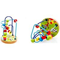 Joyeee Multicolor Wooden Bead Roller Coaster 1 - Farm Pattern - Compact Size Early Education Beads Maze Toys for Your Kids - Perfect Christmas Gift Ideas