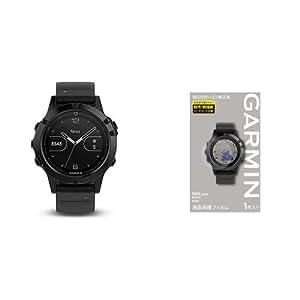 GARMIN(ガーミン) マルチ スポーツウォッチ fenix5 フェニックス5 Sapphire サファイア  GPS 腕時計 【日本正規品】 010-01688-66 & 液晶保護フィルム セット