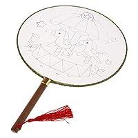 手绘扇子 円形ファン 空白 中国風 宮廷 絵画ファン タッセル付き シルク 全12選択 - メリーゴーランド