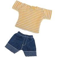 B Blesiya アクセサリー 人形衣類 1/12 BJD ミニブライス OB11ドール人形用 布製 ショートトップ デニムパンツ 高品質 全3カラー - イエロー