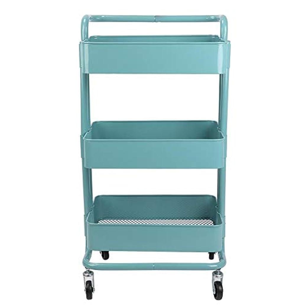職業解釈的つかまえるトロリーカート、3つの層の金属の車輪の貯蔵の棚は美容院のために移動可能です