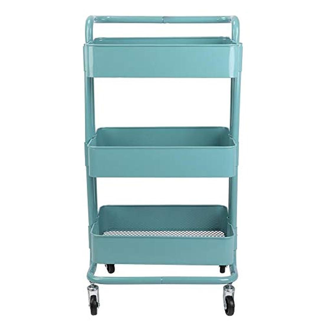 毎年徴収第二にトロリーカート、3つの層の金属の車輪の貯蔵の棚は美容院のために移動可能です