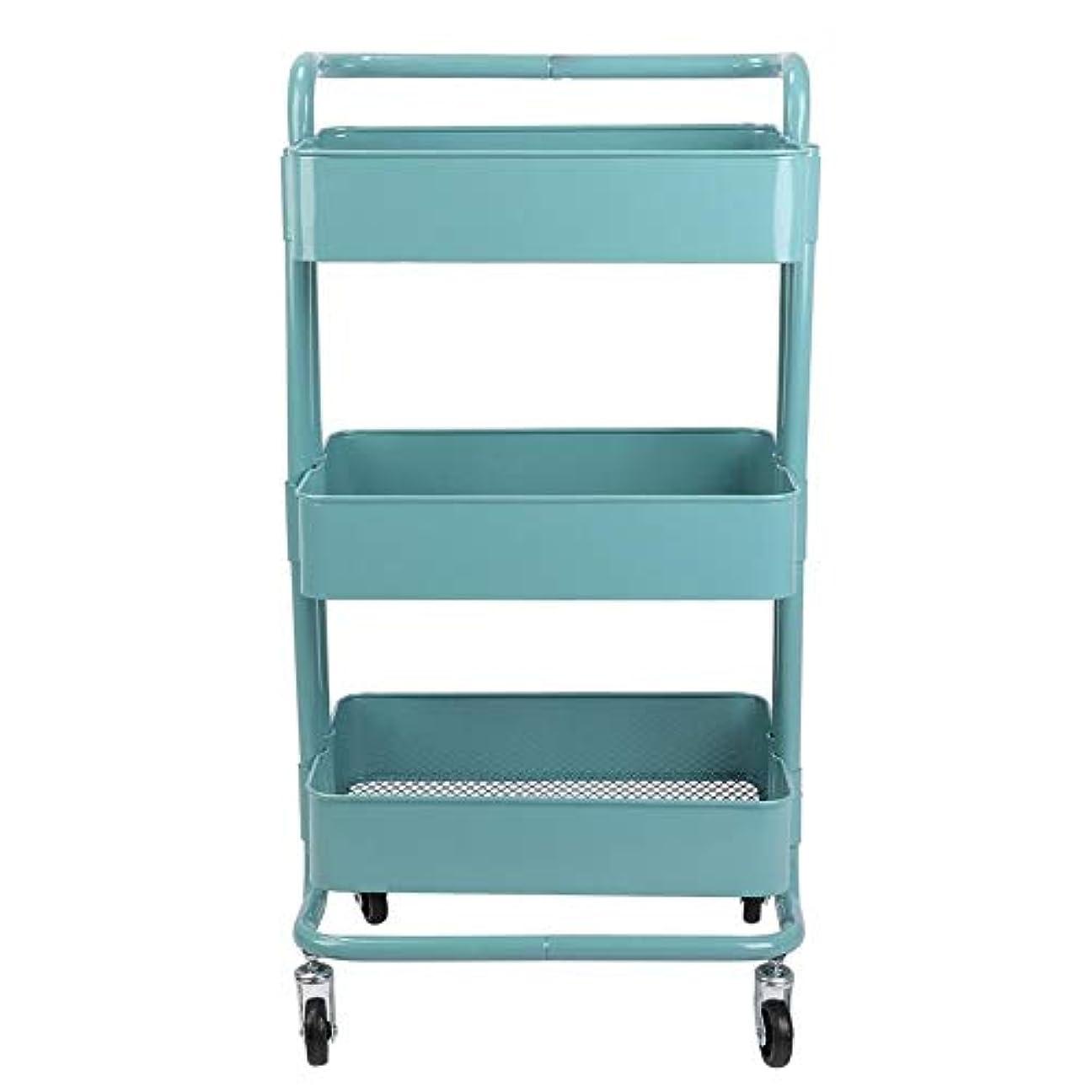 集計ガイドライン反対トロリーカート、3つの層の金属の車輪の貯蔵の棚は美容院のために移動可能です