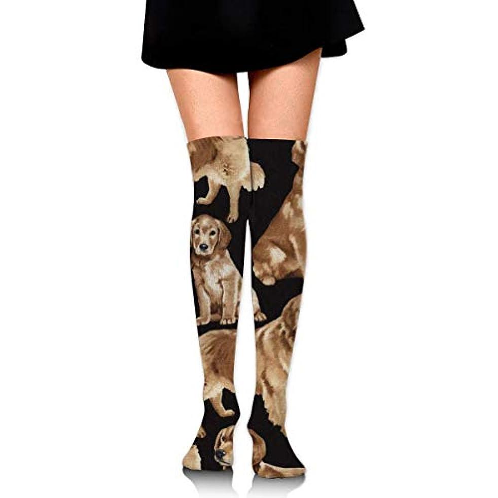 ヒップ用量路面電車MKLOS 通気性 圧縮ソックス Breathable Classic Warmer Tube Leg Stockings Golden Retrievers Exotic Psychedelic Print Compression...