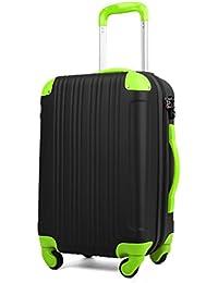 スーツケース キャリーケース キャリーバッグ 安心1年保証 ファスナー L サイズ 長期滞在 拡張 7日 8日 9日 10日 11日 12日 13日 14日 TSAロック ハードキャリー 大型 ジッパー かわいい 全サイズ 有り 5082-70 ブラック/グリーン