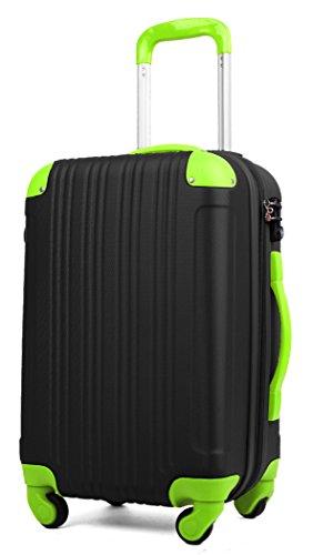 (レジェンドウォーカー) LEGEND WALKER 超軽量 Wファスナー容量アップ拡張機能付 スーツケース (17色4サイズ) おしゃれでかわいい キャリーケース スムーズな移動が可能な4輪タイプ (Sサイズ(3~5泊/47(拡張時56)L), ブラック/グリーン)