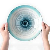 9.3インチ大セラミックボウルパスタボウルスープボウルクリエイティブスパイラルブルーセラミック食器ホームパスタ料理ディープディッシュフルーツサラダボウルプレート23.8×4.8センチ (Color : White)
