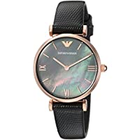 Emporio Armani Black Stainless Steel & Leather Watch AR11060