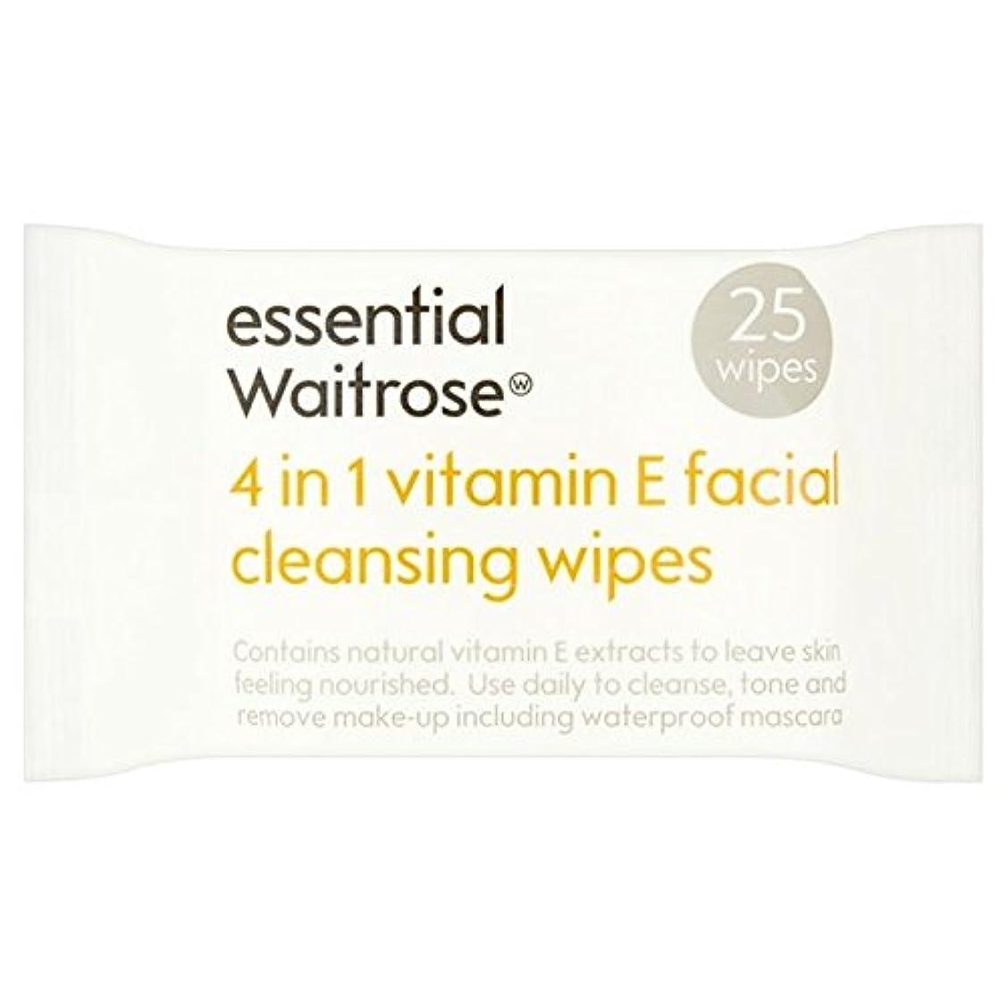 ペニー変更規制する1つのクレンジングで4不可欠パックあたりのビタミンウェイトローズ25ワイプ x4 - Essential 4 in 1 Cleansing Wipes Vitamin E Waitrose 25 per pack (Pack...