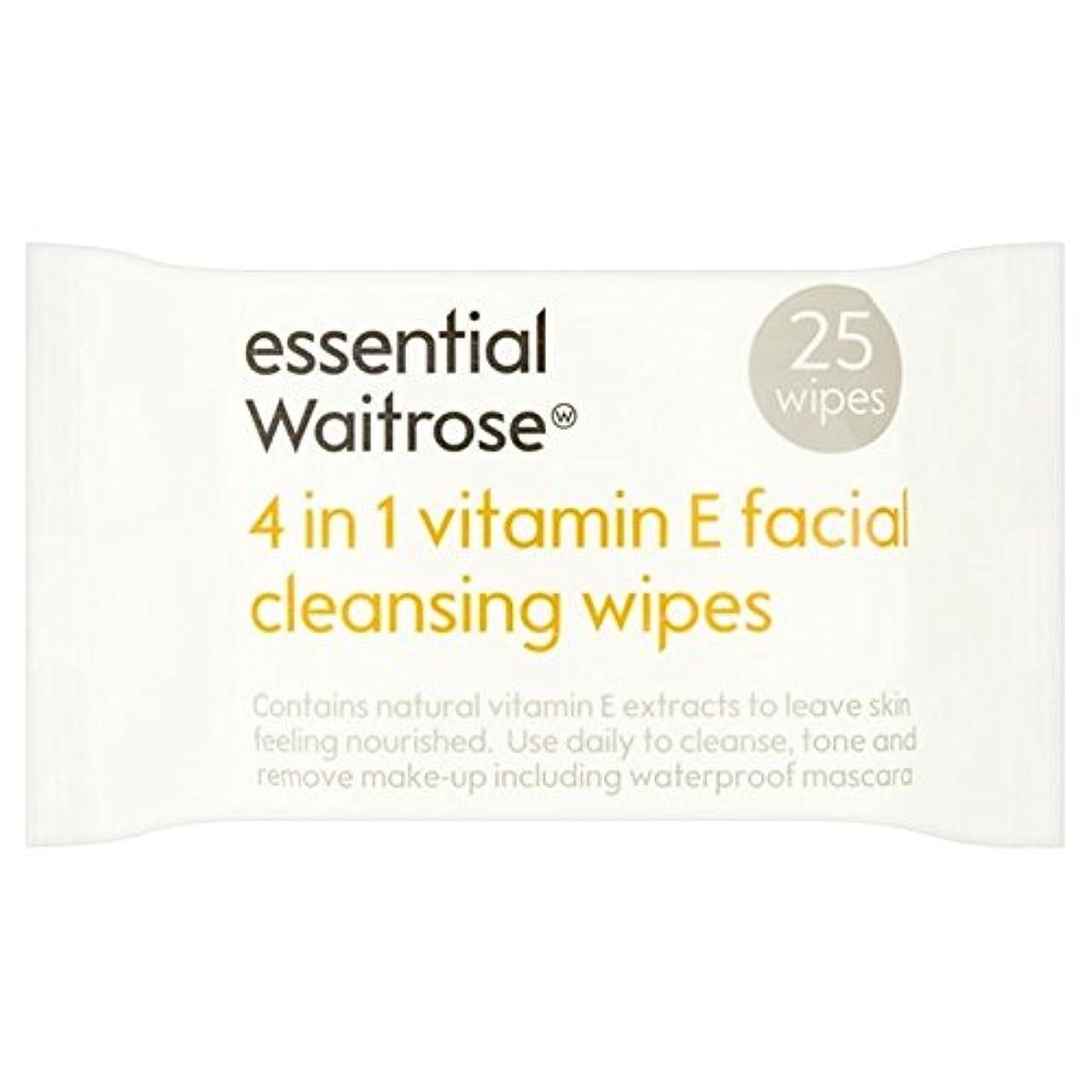 靴下エール間違っているEssential 4 in 1 Cleansing Wipes Vitamin E Waitrose 25 per pack (Pack of 6) - 1つのクレンジングで4不可欠パックあたりのビタミンウェイトローズ...
