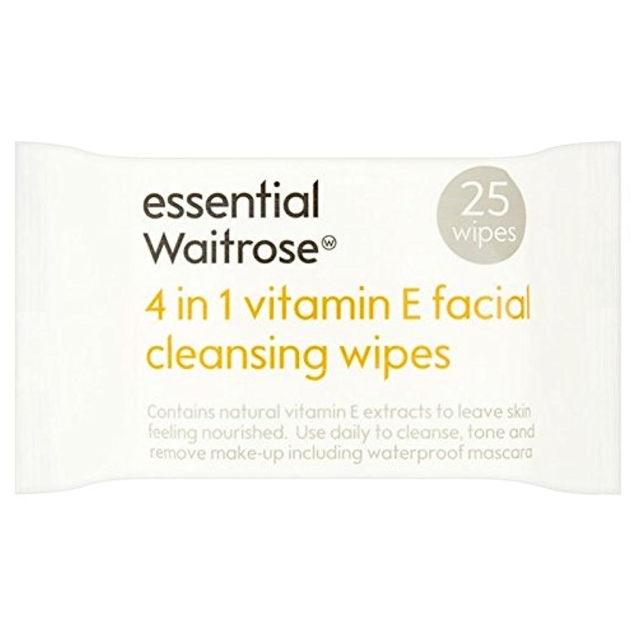 木製窓怠1つのクレンジングで4不可欠パックあたりのビタミンウェイトローズ25ワイプ x4 - Essential 4 in 1 Cleansing Wipes Vitamin E Waitrose 25 per pack (Pack...