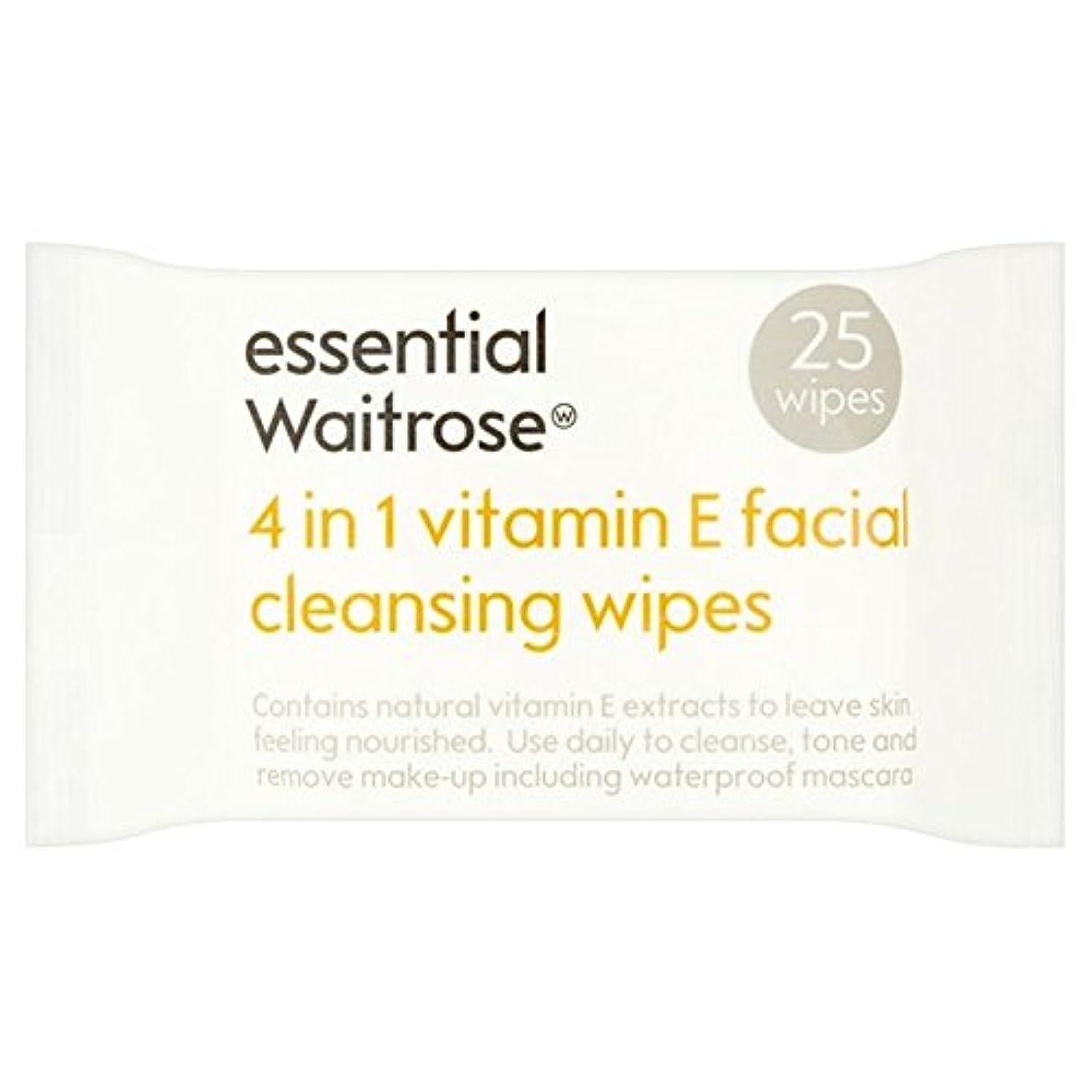 余裕がある第二に突破口1つのクレンジングで4不可欠パックあたりのビタミンウェイトローズ25ワイプ x4 - Essential 4 in 1 Cleansing Wipes Vitamin E Waitrose 25 per pack (Pack...